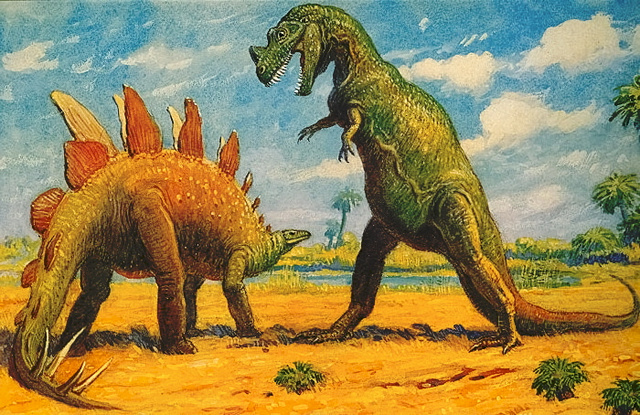 Charles R. Knight képe a két lábon álló Ceratosaurusról