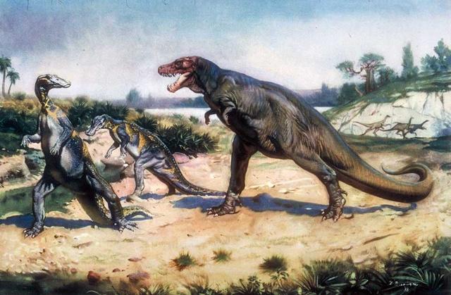 Zdeněk Burian: Tyrannosaurus Rex támad meg egy Trachodont
