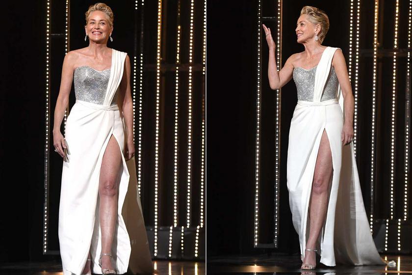 Sharon Stone szenzációsan festett ebben a Dolce & Gabbana estélyiben. Az ezüst felsőrész eleganciát, a felsliccelt, hófehér szoknya szexis megjelenést kölcsönzött neki.