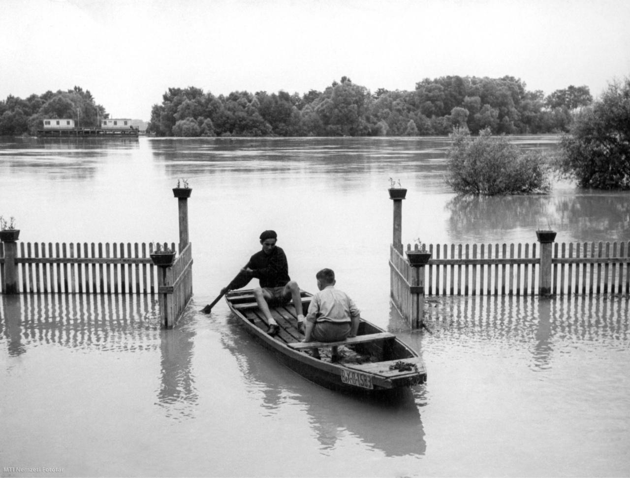 Leányfalu 1954. július 16. Csónakkal közlekedő fiatal fiúk az áradó Dunán a Határcsárda körül.