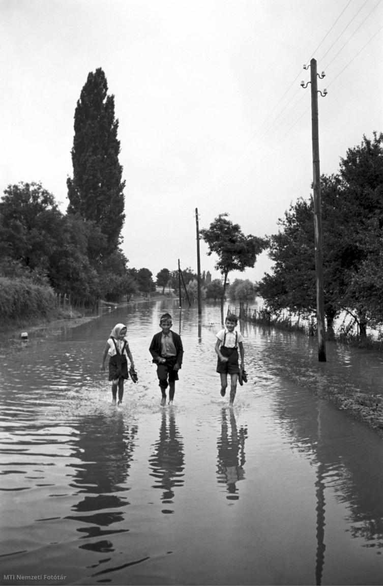 Tahitótfalu, 1954. július 16. Gyerekek sétálnak az árvíz borította betonúton kezükben cipőjükkel. A Duna magyarországi szakaszán 1954 júliusában áradás kezdődött. A legveszélyesebb helyzet a Szigetközben alakult ki, ahol július 8-án elrendelték a legmagasabb fokú készültséget. Július 15-én és 16-án azonban Ásványrárónál, Kisbodaknál és Dunakilitinél átszakadt a gát, és 550 millió köbméter víz zúdult ki a folyóból, elöntve a Szigetköz jelentős részét. Július 20-án Győr-Révfalut is elöntötte a víz. A dunai árhullám az addig mért legnagyobb volt, azt megelőzően 1899-ben volt a legmagasabb a vízszint. Az 1954. évi áradás következtében majdnem 1400 épület összedőlt és kétezernél több ház megrongálódott. Az árhullám július végén vonult le, ezután a károk helyreállítása 380 millió forintba került. Az árvízvédelmi fejlesztések során a biztonságosabb töltésrendszer 1969-1975 között épült ki.