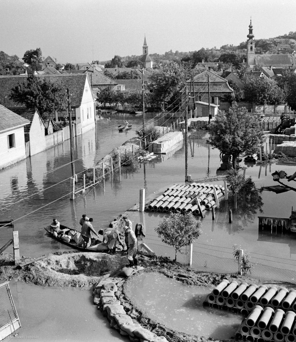 Homokzsákokkal védik a Cementipari Vállalat dunaszekcsői üzemét a dolgozók 1965. június 17-én, miután a település mélyebben fekvő utcáit veszélyezteti a megáradt és állandóan emelkedő Duna folyó. A szomszédos Bátán még ellen tudnak állni a víz erős nyomásának. A Magyar Néphadsereg alakulatai, valamint egy árvízvédelmi osztag próbálja megfékezni a víz áttörését. Több helyen vas szádlemezeket vernek le és ezzel, valamint homokzsákokkal erősítik a gátat.