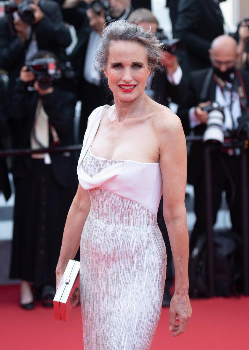 A 63 éves modell és színésznő, Andie MacDowell a cannes-i filmfesztiválon mutatta meg ősz tincseit, és mindenkit levett a lábáról laza, ezüstösen ragyogó frizurájával.