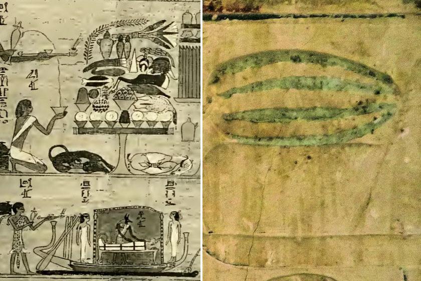 Görögdinnye-ábrázolások egy egyiptomi papiruszon és falfestésen.