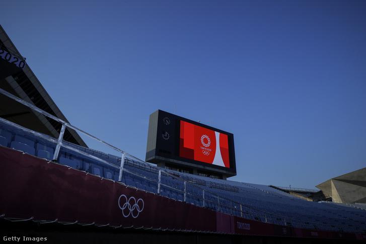 Egy kivetítő a tokiói olimpián