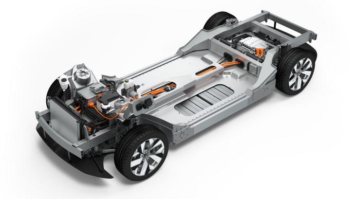 Járóképes elektromos autó alváz a Boschtól. Az akkumulátor védőkeretéhez csatlakoznak a futómű tartó nyúlványok, sőt az ütközési energiaelnyelő elemek egy része is