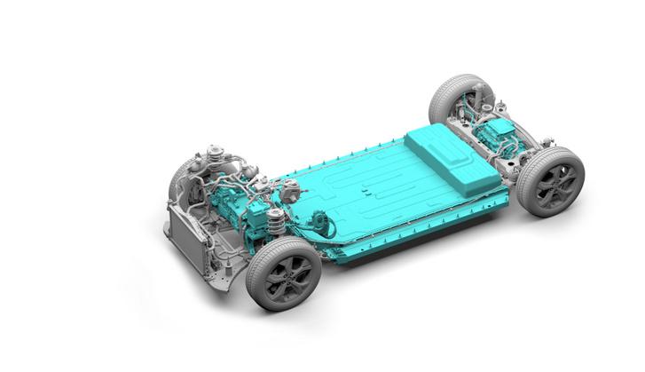 A Ford Mustang Mach-E akkumulátorának megerősített keretéhez közvetlenül csatlakoznak a futóművet tartó segédvázak