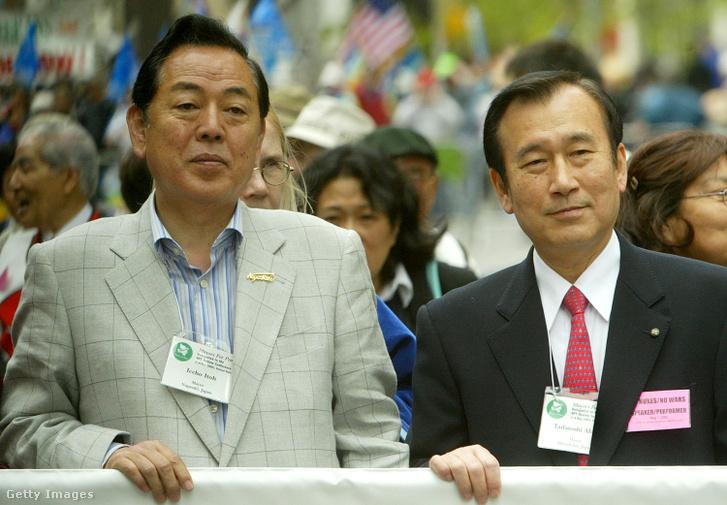 Itó Iccsó (balra) és Akiba Tadatosi (jobbra), Nagaszaki és Hirosima korábbi polgármesterei