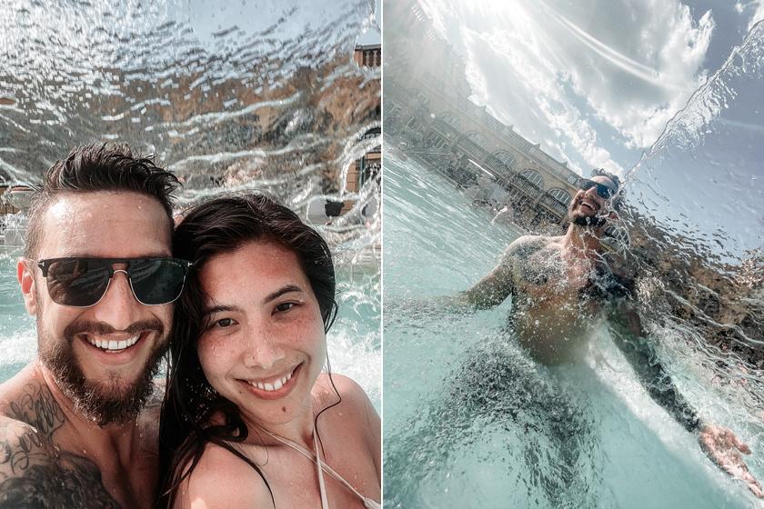 Shane Tusup és Courtney élvezte a júliusi meleget Európa egyik legnagyobb fürdőkomplexumában, a Széchenyi Gyógyfürdőben.