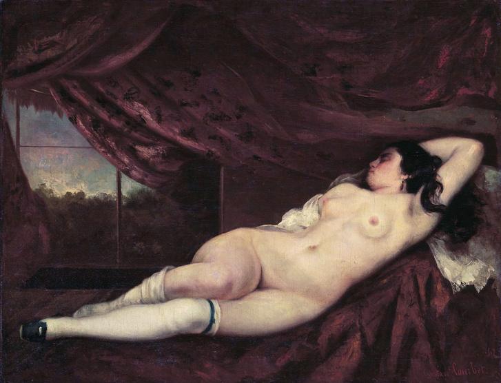 Courbet: Fehér harisnyás akt