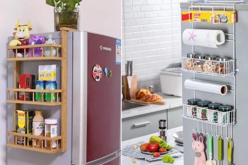Ha minden centiméternyi felület számít, de a hűtő a konyhában kapott helyet, nemcsak a belsejébe és a tetejére lehet pakolni, hanem az oldalára helyezett polcra is.