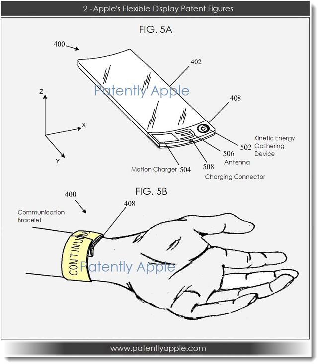 Az Apple által szabadalmaztatott hajlékony kijelző vázlati rajza
