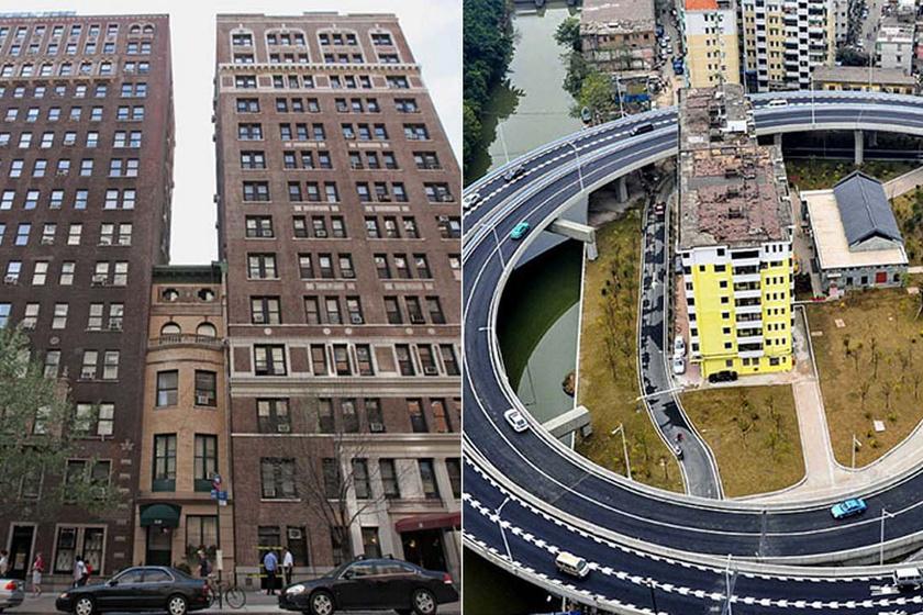 Nem adta el kis házát a tulajdonos, autópályát építettek köré: 10 régi ház, amit bekebelezett a 21. század