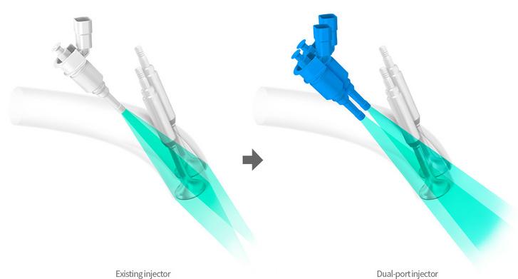 A szokásos szívócső-befecskendezéshez képest itt két, kisebb injektor van, és oda fecskendeznek, ahol a szívócsatorna már kettéágazik