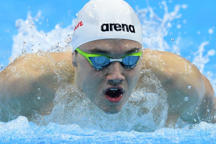 Milák Kristóf a férfi 100 méteres pillangóúszás előfutamában, a 17. vizes világbajnokságon a Duna Arénában 2017. július 28-án