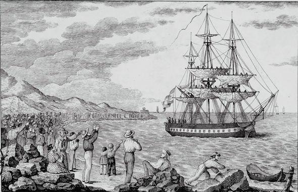 A spanyol kikötőből elinduló Balmis hajója egy Francisco Pérez által készített metszeten (1803)