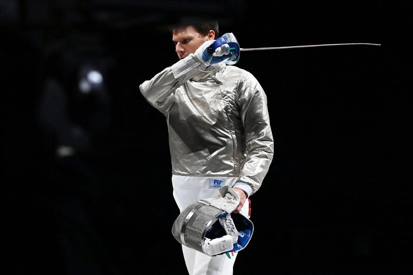 Szatmári András az utolsó asszója után, a férfi kardozók csapatversenyének bronzmérkőzésén.