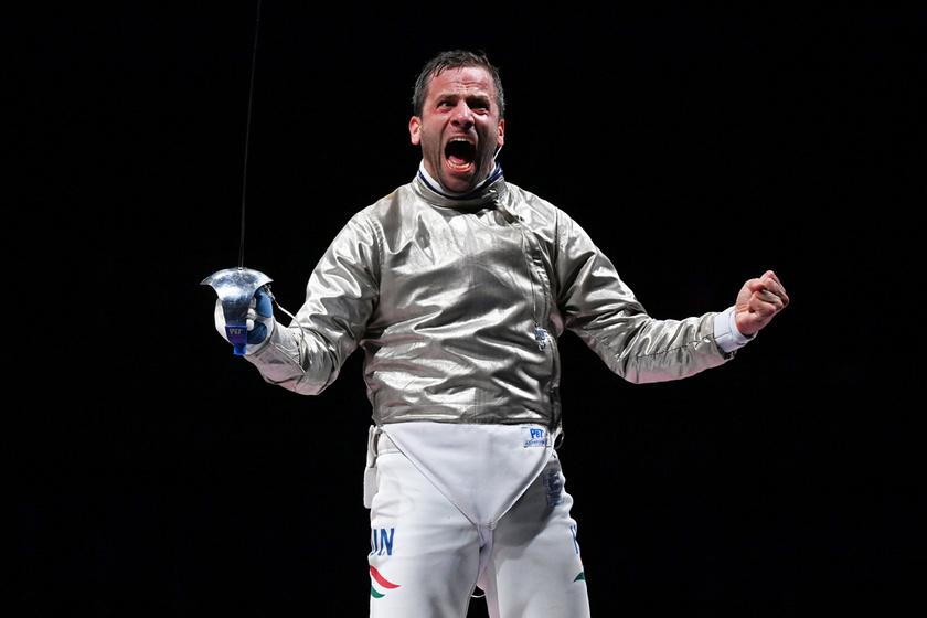 Gémesi Csanád az utolsó asszója után, a férfi kardozók csapatversenyének bronzmérkőzésén.