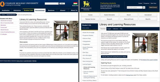 Balra a CMU, jobbra a Birminghami Egyetem könyvtára