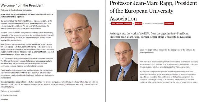 Balra a CMU elnöke Dr. Szabadfalvi József, jobbra a  Dr. Jean-Marc Rappra svájci professzor