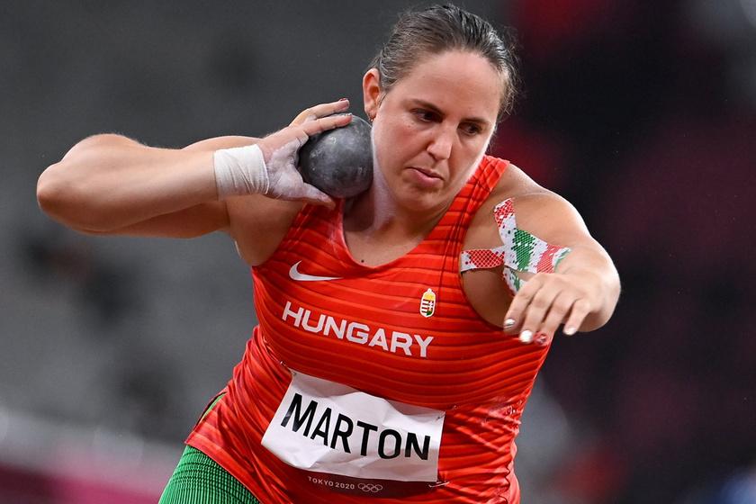 Márton Anita a női súlylökés selejtezőjében az Olimpiai Stadionban 2021. július 30-án.