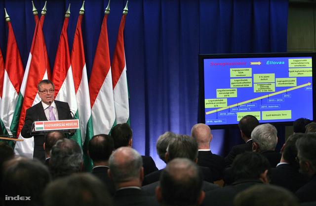 Matolcsy György és meredeken emelkedő grafikonok az első Széll Kálmán terv bejelentésén 2011-ben.