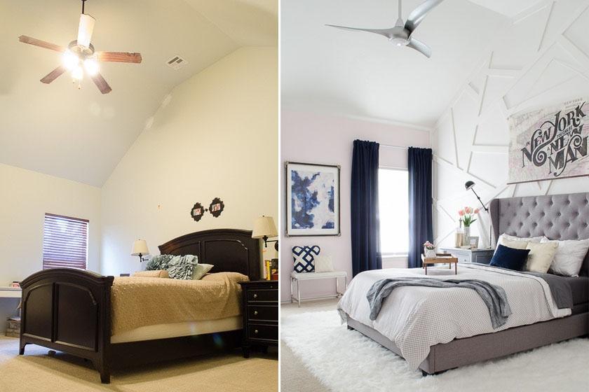 A sötét bútor és a vajszínű fal meglehetősen lehangolóvá tette a szobát, ám szürke-fehér-kékben jóval fiatalosabb lett. A csodás ágy a helyiség központi eleme, a puha, fehér szőnyeg finoman dekorál.