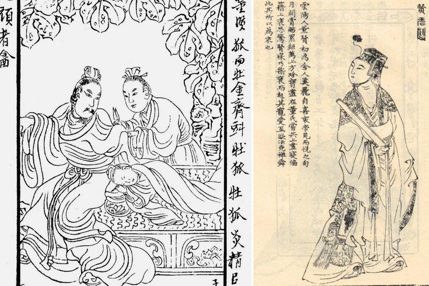 A köntös ujjának levágása, Dong Xian portréja.