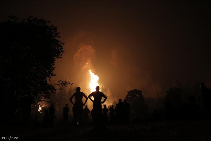 Helyi lakosok és önkéntesek a görögországi Évia-szigeten fekvő Kamatriadész közelében pusztító erdtűz helyszínén
