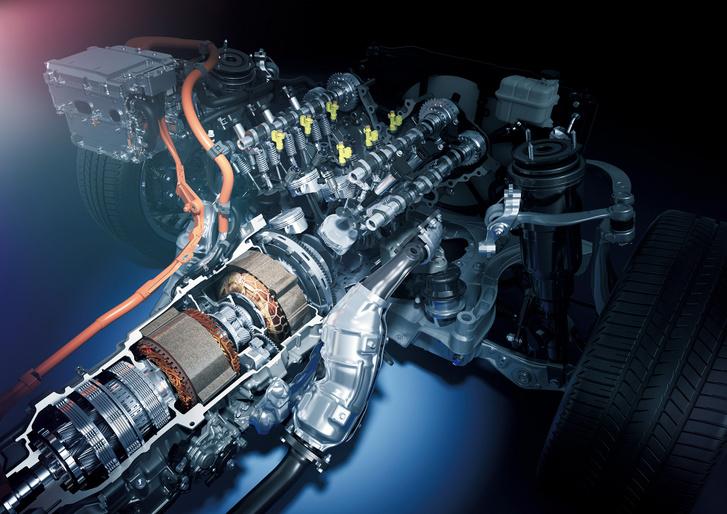Ugyanaz másképp a Lexus LS-ben. A generátor és a hajtó elektromotor között a nyomatékosztó bolygómű