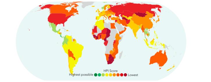 BBI értékei: a zöldes színek a magasabb értékeket, a pirosas színek az alacsonyat mutatják. Forrás: Happy Planet Index
