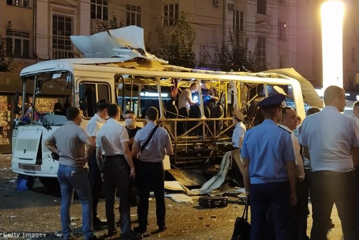 Személyszállító autóbusz Voronyezs városában 2021. augusztus 12-én