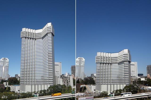 A hotel eredeti méretben a bontás előtt, és húsz emelettel megrövidítve