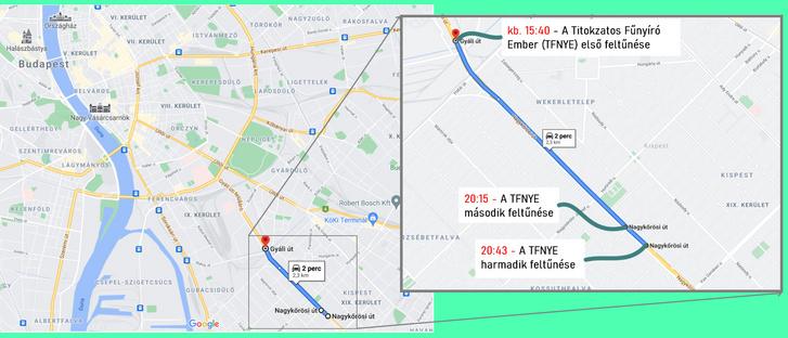 Íme a heroikus munka térképi ábrázolása. Ez már budapesti léptékkel is nagy távolság!