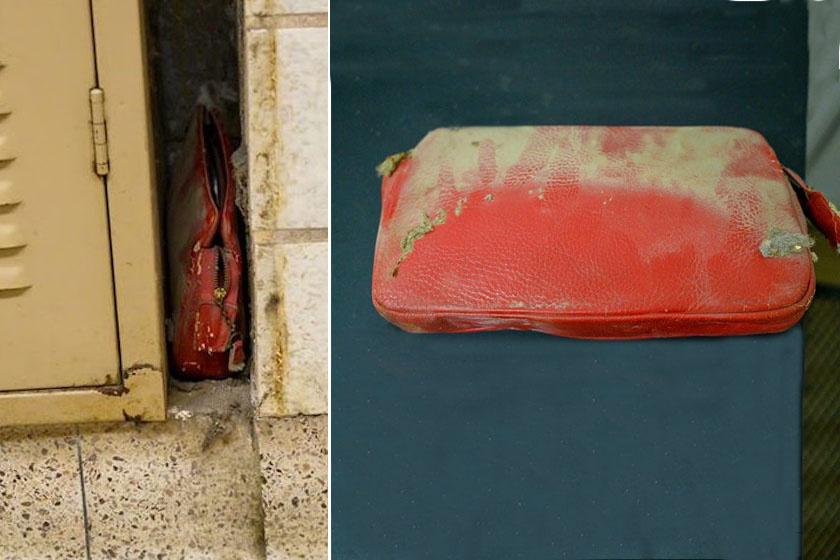 A piros retikül a balra látható szűk helyen várakozott, mígnem 62 év után véletlenül rátalált a középiskola gondnoka.