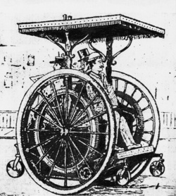 Hiába tettek rá elöl és hátul támasztókereket, az 1896-ban tervezett kétkerekű igencsak labilis volt