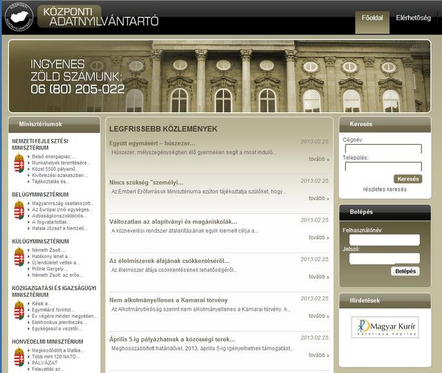 A Központi Adatnyilvántartó hivatalosnak tűnő oldala