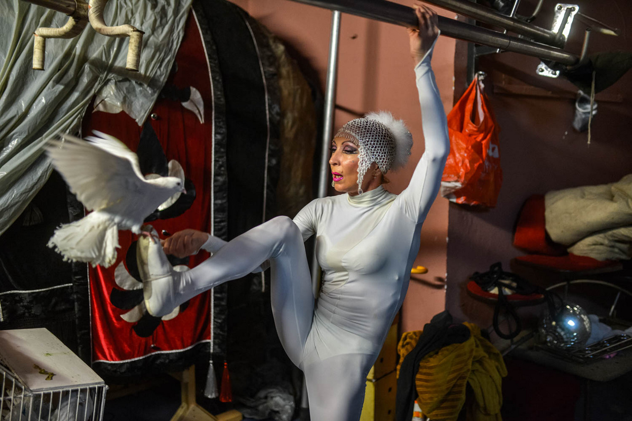Cirkusz                         Átjárható színfalak - az alábbi alcímet is kaphatta volna Urbán Ádám fotósorozata, amely egészen új nézőpontokat kínál a cirkusz intézményével és a cirkuszművészettel kapcsolatban. A fotósorozat egyik legizgalmasabb jellemvonása a sokfélesége, ezáltal képes utat nyitni a különféle értelmezések és olvasatok előtt - kimozgatja a nézőt a befogadás hagyományos keretei közül. Pedig a cirkuszi befogadás eredendően egy perspektivikus élmény, amelyben a nézőpont, a nézői pozíció eleve rögzített - írja Szerényi Tamás.