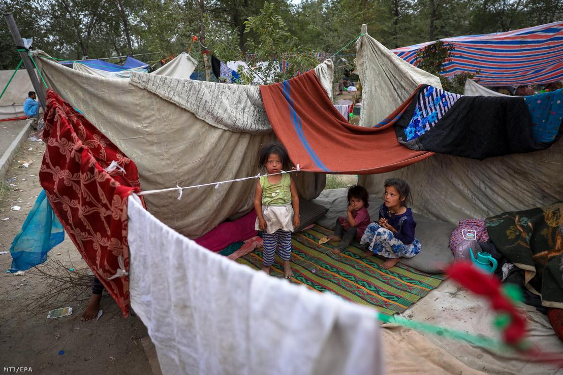 A tálib fegyveresek és az afgán kormányerők harcai elől az észak-afganisztáni tartományokból elmenekült emberek egy kabuli közparkban húzzák meg magukat 2021. augusztus 14-én