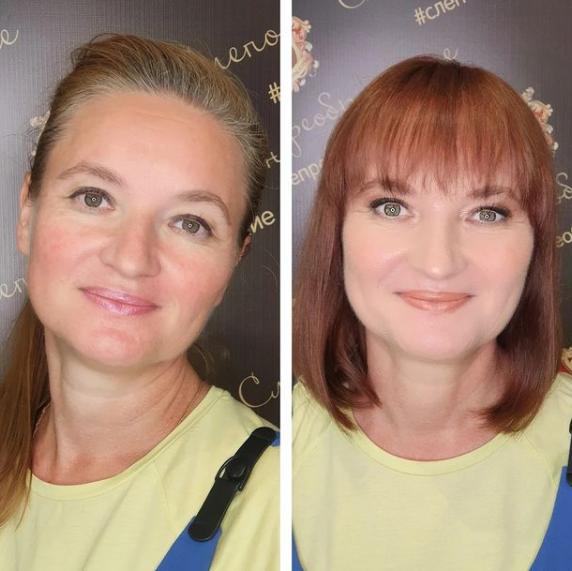 A hölgy arcformájához remekül passzol a frufru, és a vörös hajszín is nagyon feldobta a külsejét. Tökéletes választás volt.
