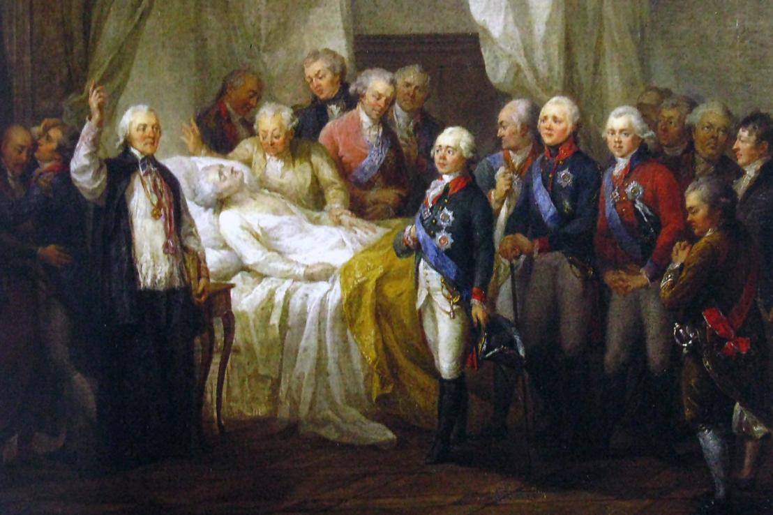 II. Szaniszló Ágost a halálos ágyán, 1798-ban