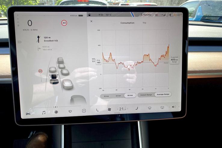 A Tesla elég hülyén kezeli a hatótávkijelzést. A bal képernyőfélen a hivatalos norma szerint (nagyon optimista) szám, a jobb oldalon a tudományos (és sokkal reálisabb becslés).