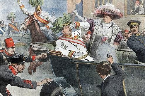 Szarajevói merénylet. Achille Beltrame által készített illusztráció, amely 1914. július 12-én jelent meg a Domenica del Corriere című hetilapban