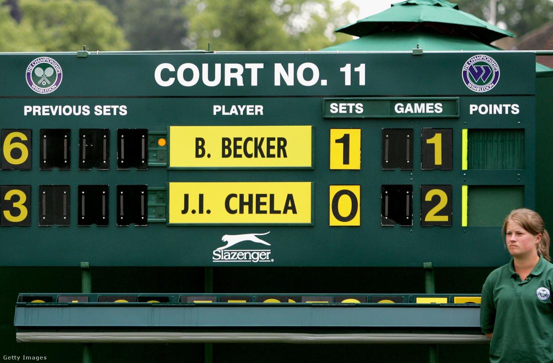 Az eredményjelző tábla a német Benjamin Becker és az argentin Juan Ignacio Chela közötti eredményt mutatja az All England Lawn Tennis and Croquet Clubban 2006. június 27 -én Londonban