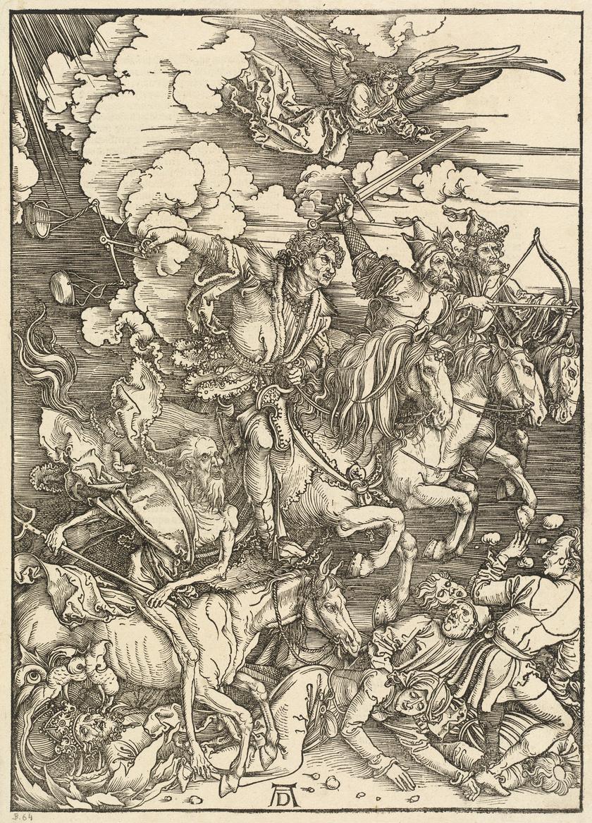 Albrecht Dürer Az Apokalipszis lovasai című képe.