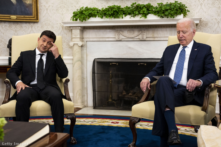 Voéodimir Zelenszkij és Joe Biden a Fehér Ház Ovális Irodájában 2021 szeptember 1-én