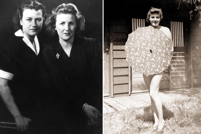 Balra Gretl és Eva, jobbra Gretl pózolt egy esernyővel 1940-ben,Berchtesgadenben.