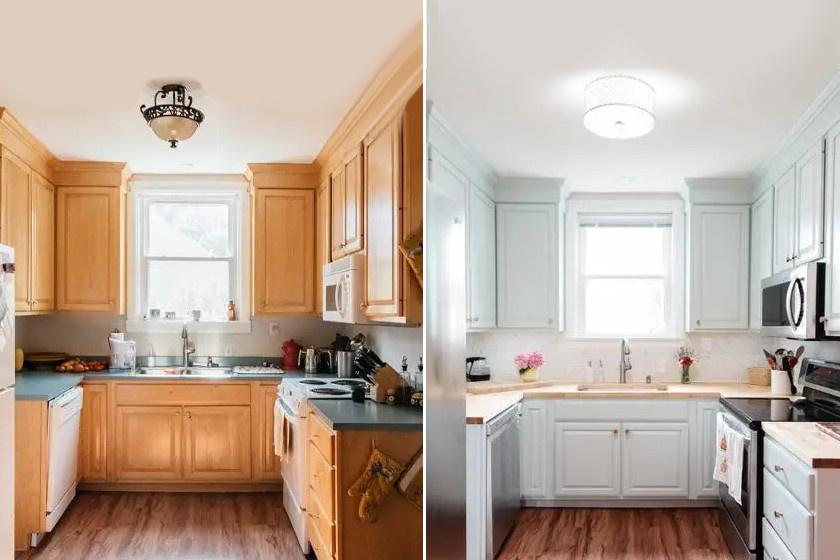 Ez a konyha ékes példája annak, hogy a színek megváltoztatása milyen óriási változást hozhat. A nyomasztó, barna színt fehérre váltották, de a helyiség melegségének megőrzése érdekében fával helyettesítették a régi pultot is. A modern csillár remekül illik az új dizájnhoz.