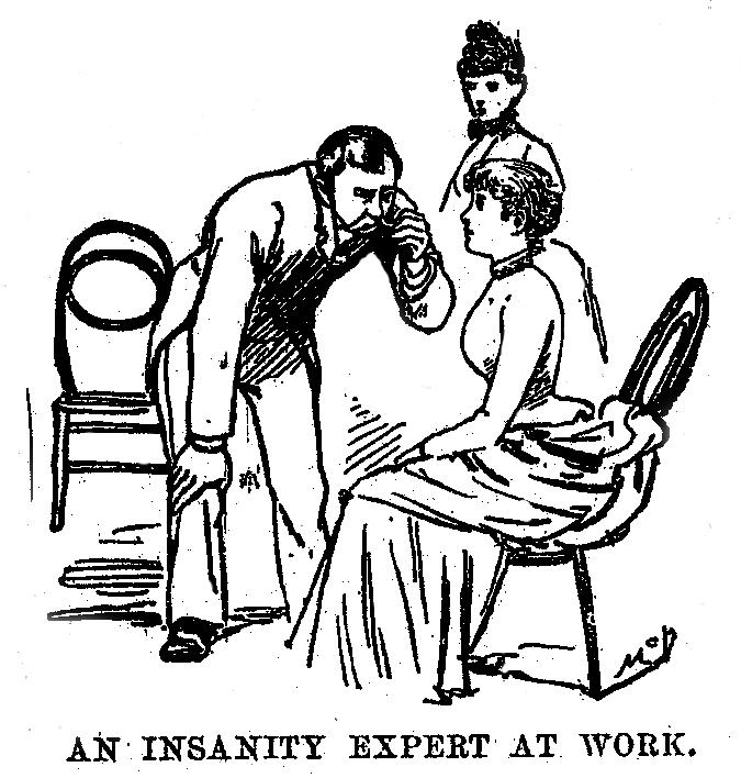 Illusztráció arról, ahogy egy pszichiáter vizsgálja az újságírónőt.