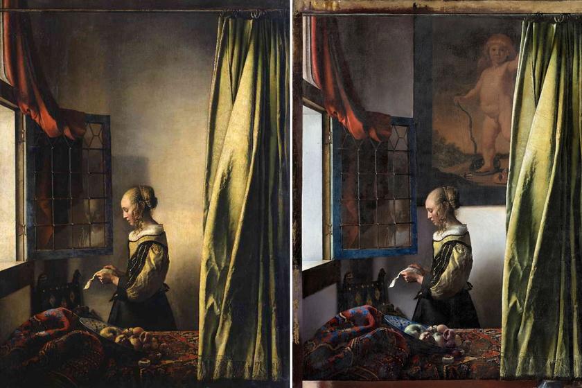 Balra a festmény, jobbra a restaurált kép, Cupidóval.